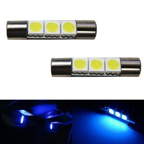 (iJDMTOY 3-SMD 29mm 6614F LED Bulbs For Car Sun Visor Vanity Mirror Lights, Ultra Blue)