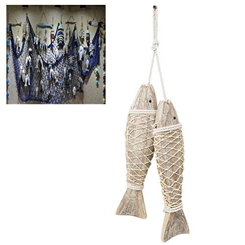 Uscyo Wooden Fish Pendant, Coast Decoration Handcarved Fish Wall Hanging Door Creative Wood Room Decoration, Hanger Wood Fish 2pcs