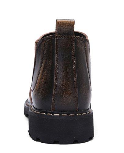Tda Mens Mode Slip-on Cuir Couture Conduite Martin Bottes Marron