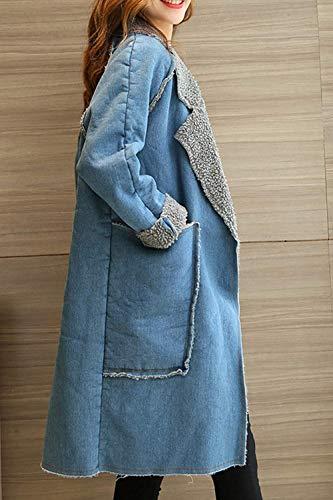 Bleu Bleu En Pour Large Manches À Molleton Vestes Femmes Taille Décontractées coloré Longues Oudan qOwgAn