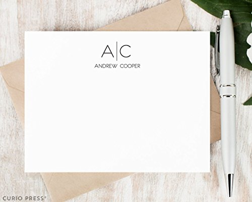 THIN LINE MONOGRAM - Personalized Flat Stationery Set (Personal Monogram)