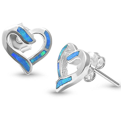 Sterling Silver Lab Created Opal Heart Earrings COLORS AVAILABLE (Lab Created Blue Opal)
