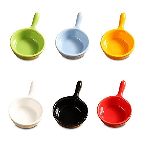 MonLiya 6 Pcs Ceramic Sauce Dishes Colorful Mini Bowl Set Ketchup Side Dish Tableware Condiment Relish Plate Seasoning Soy Sauce Dishes Stackable Ramekins with Grip Handle Dessert Bowls Set