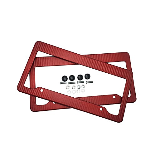 Onmi Car Carbon Fiber Painted Style Red Front Rear License Plate Frame Cover with Screw (Pack of 2)