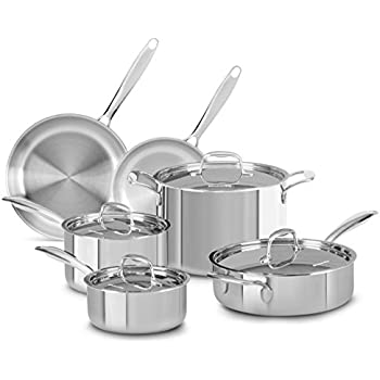 KitchenAid KCTS10SLST Tri-Ply Stainless Steel 10-Piece Cookware Set - Stainless Steel
