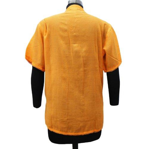 Rayón Top bordado de la túnica de manga corta de las mujeres del desgaste del verano blanca Kurti naranja