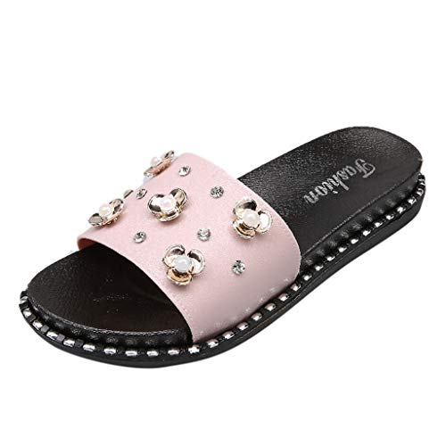 Respctful✿ Casual Shoes for Women Slip On Slippers Bath Indoor Outdoor Fashion Boho Pearl Flip Flops Flats - Pearl Bisque