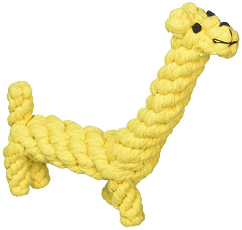 LEPPI Tough Dog Teeth Cleaning Toys of Cotton Rope Dental Chew Giraffe, Yellow