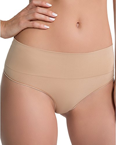 SPANX Women's Everyday Shaping Panties Seamless Thong Soft Nude Thongs LG