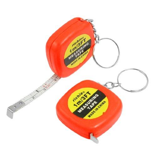 uxcell 2 Pcs Multifunction Orange Red Case 1 Meter 3 Feet Mini Tape Measure w Key Ring