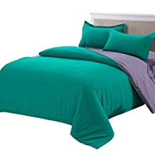 uxcell® Duvet covers,High Quality Duvet Cover Pillow Case Quilt Cover Bedding Sets Double Green Purple