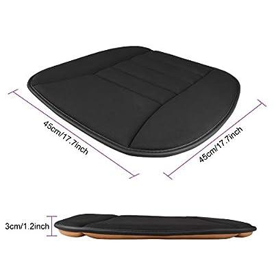 Aukee Car Seat Cushion Office Chair Mat Memory Foam Home Use Pad Black 1PC: Automotive