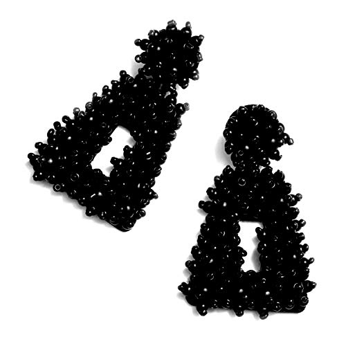 Enameljewelries Handmade Beaded Earrings Bohemian Statement Drop Bead Earrings with Hypoallergenic Steel Post for Women. (C4#Bead Black)