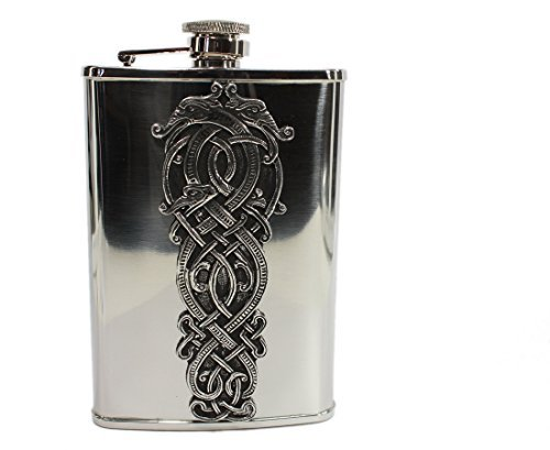 Irish Whiskey Flask Stainless Steel & Pewter Celtic Dragon Made in Ireland by Mullingar Pewter