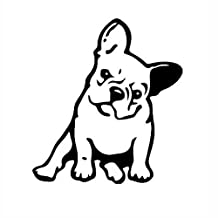 OKDEALS White Black French Bulldog Dog/Pet Vinyl Decal Car Window Wall Sticker Laptop Decal (Black)