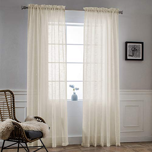 (NICETOWN Voile Curtains 95 Inch Long - Rod Pocket Beige Soft Semi Sheer Drapes for Patio Glass Door/Balcony/Hall, Sold by 2 Panels)