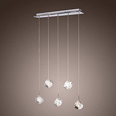 LightInTheBox K9 Crystal Bar Pendant Light with 5 Lights , Modern Home Ceiling Light Fixture Flush Mount, Pendant Light Chandeliers Lighting, Voltage=110-120V