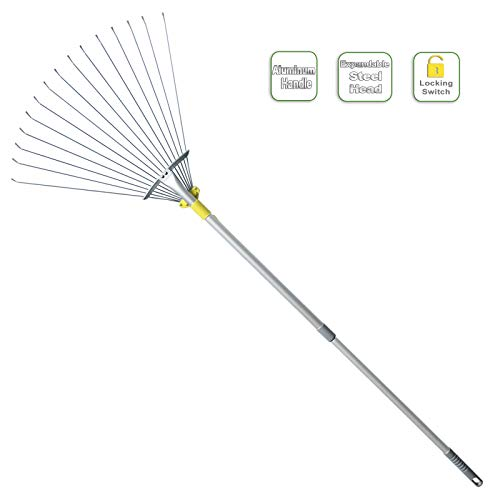 Jardineer 63 inch Lightweight Garden Leaf Rake for Lawns, Adjustable Yard Rake for Leaves, Metal Lawn Rake with 23' Expandable Bigger Head.Ideal Garden Tools Gifts. One Year Warranty