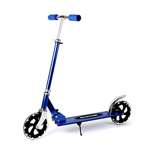LBLA Scooter for Adults/Teens, Big Wheels Scooter Easy Folding Kick Scooter Durable Push Scooter Support 220lbs Suitable for Age 8 Up Kids (Blue)