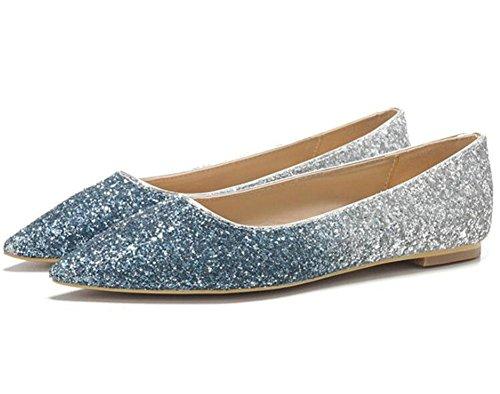 KUKI Mode Spitze einzelne Schuhe flachem Mund Pailletten Komfort flache Schuhe , 2 , US8.5/ EU40 / UK6.5/ CN40