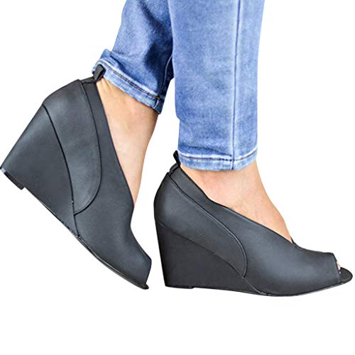 Cenglings Women's Peep Toe Wedge Sandals V Port Platform Sandals Shallow Slip On Shoes Ladies High Heel Office Work Shoes Black