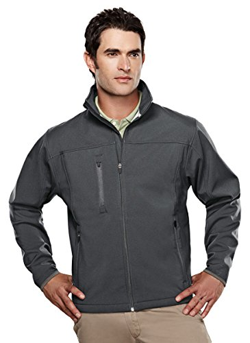 (Tri-mountain Mens poly stretch bonded soft shell jacket. - CHARCOAL/DARK GRAY - Large )