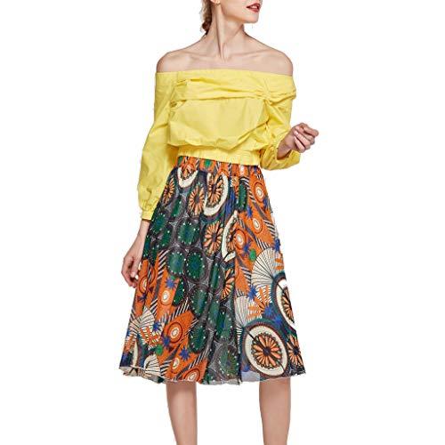 - Zlolia Women's Printed Lace Bohemia Swing Skirt Simple Flavor High Waist Perspective Plain Midi Dress