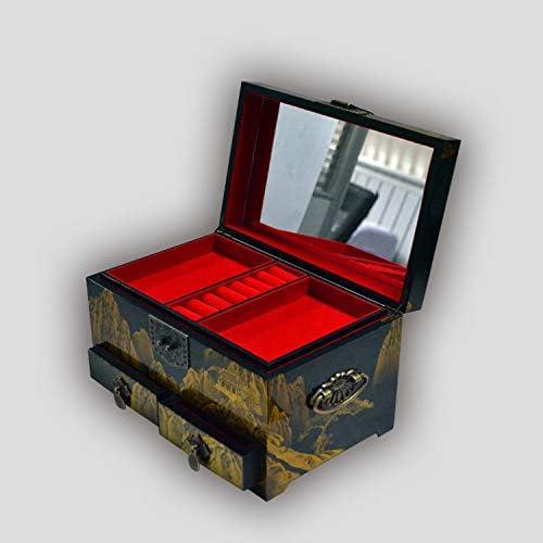 Laogg Caja Joyero Chino,Joyero Bordado Oriental con Anillo de bloqueoaretescaja de Almacenamiento Muebles y Regalos orientales: Amazon.es: Hogar