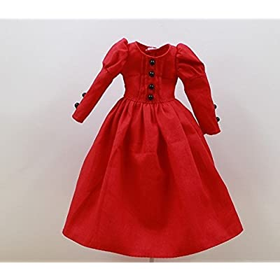 Studio one Long Red Dress Retro Accessories Cloth for Blythe Doll Best Gift: Toys & Games