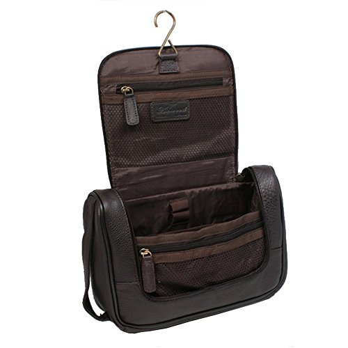 Ashwood Hanging Leather Wash-bag Travel Organizer Cosmetic Toiletry Bag Brown ()