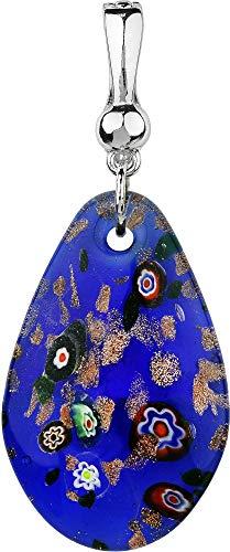 - Wearable Art by Roman Blue Multi Glass Pendant Blue Multi