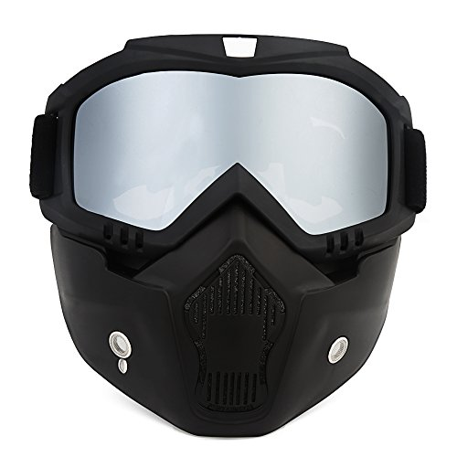 ThyWay Anti-Fog Windproof Motorcycle Goggles Riding Detachable Modular Face Mask Shield Goggles - Protect Padding Mouth Filter for Motorcycle Helmet - Spy Made Sunglasses Where