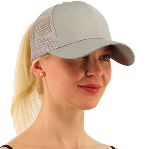 ATIMIGO Chic Grey Ponytail Baseball Cap Hat Ponycap Messy High Bun Ponytail Adjustable Mesh Trucker Baseball Cap Hat for Women Men Girl
