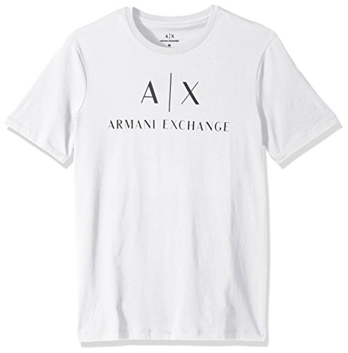 A|X Armani Exchange Men's Classic Crew Logo Tee, White, - Armani Exchange Shop