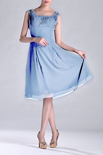 Pleated Dress Formal Length Occasion of Mother Knee Special the Blue Bridesmaid Brides Cornflower wIqtECdc