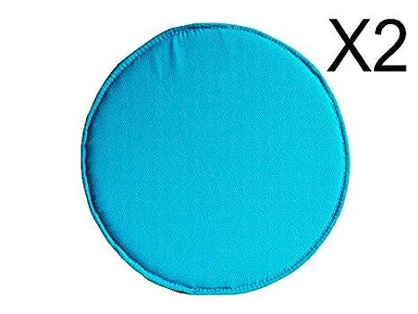 Catay home pack di cuscini rotondi tela color blu turchese per