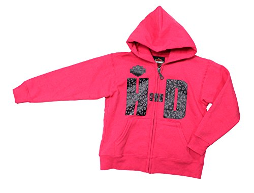 Harley-Davidson Girls Youth Biker Raised H-D Full Zip Pink Long Sleeve Hoodie (08) - 08 Zip Hoodie Sweatshirt