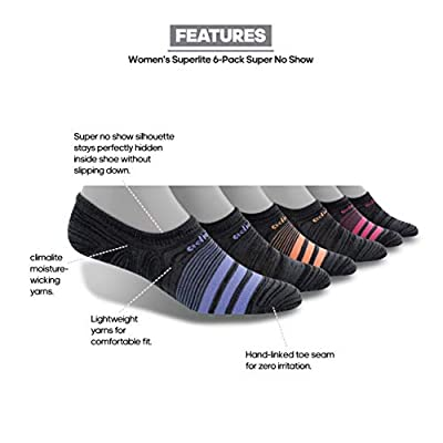 adidas Women's Superlite Super No Show Socks (6-Pair), Black - Onix Space Dye/Chalk Purple/Chalk Coral/Pink, Medium, (Shoe Size 5-10): Clothing
