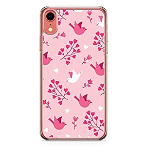 Loud Universe Case For iPhone XR Transparent Edge Valentines Day Couples Love Birds Floral Pattern iPhone XR Cover