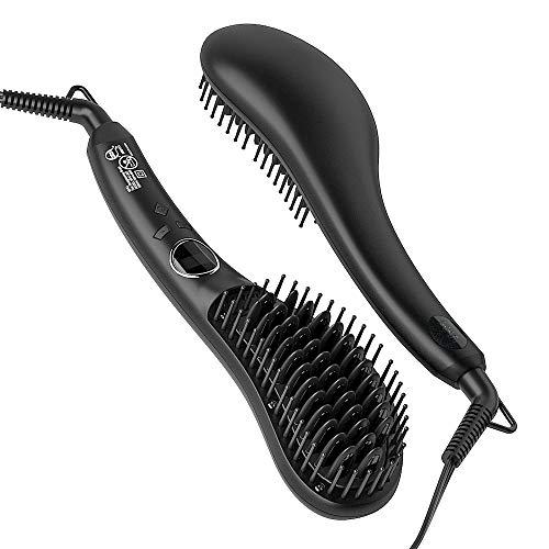 MHU 2 in 1 Hair Straightener Brush,Anti-scald Ceramic Hot Comb,Temperature Lock Auto-off,Professional Straightening Brush,Black