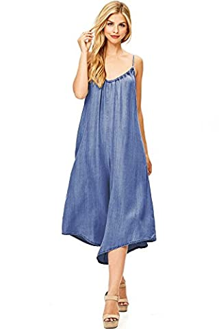 Love Stitch Women's Loose Fit Chambray Romper (L, Dark Denim) (Relaxed Fit In Los Angeles Dark)