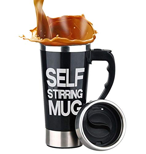 Mengshen Self Stirring Mug - Portable Lazy Coffee Cup Auto Mixing Tea Perfect For Office Home Outdoor Gift 450ml, A008A Black