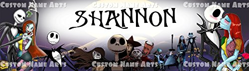 Personalized The Nightmare Before Christmas Poster 8.5x30 Glossy Banner Custom Name Paint