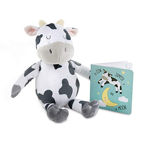 Baby Aspen Colby The Cow Plush Plus Book for Baby Gift Set, White/Dark Gray/Light Gray/Yellow/Pink/Teal