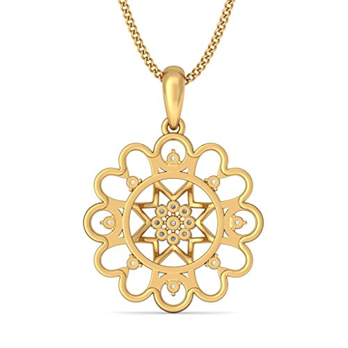 14 K jaune Or 0,27 CT TW Round-cut-diamond (IJ | SI) Pendentif