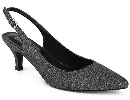 Greatonu Women Glitter Court Shoes Sexy Closed Toe Kitten Heels Black Comfortable Slingback Dress Pumps Size 10
