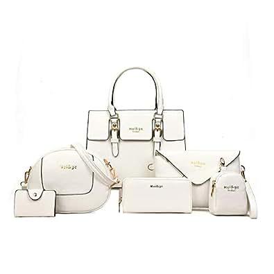 6-Piece Set Women's Designer Handbags And Purses Female Satchel Shoulder Bags Tote Bags Clutch Wallets (6pcs-beige)