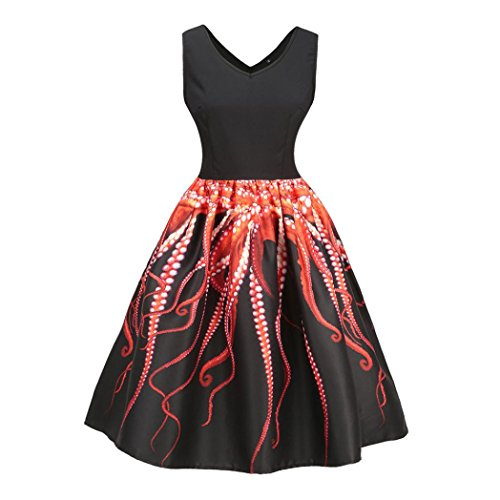 DongDong Big Promotion! Dress Vintage Printing Sleeveless Prom Swing Women Bodycon Casual Evening Party (Vintage Oak Valet)