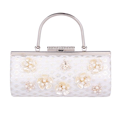 Evening Elagant Silver Handbag Women's Pearl 3D Flower Damara Bag Wedding Prom wSxHnqH