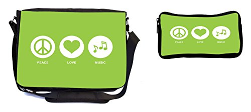 Rikki Knight Peace Love Music Lime Green Color Design Multifunction Messenger Bag - School Bag - Laptop Bag - with Padded Insert for School or Work - Includes Pencil Case